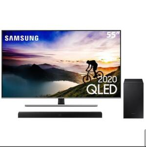 "Smart TV QLED 55"" 4K Samsung 55Q70T + Soundbar Samsung HW-T555 - R$4499"