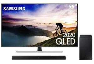 "Smart TV QLED 55"" 4K Samsung 55Q70T + Soundbar Samsung HW-T555 - R$4274"