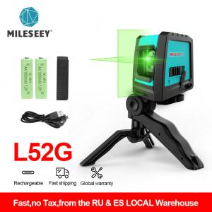 Mileseey 2020 novo 2 linhas laser nível l52r vertical profissional cruz laser nivelador