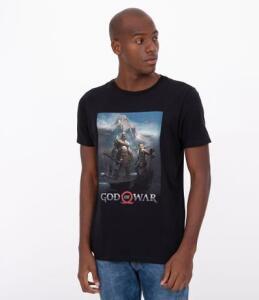 Camiseta manga curta com estampa god of war | R$16