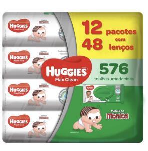 Lenços Umedecidos Huggies Max Clean, Pacote de 576 Toalhas, 12 Pacotes, Huggies | R$120