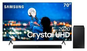"Smart TV LED 70"" UHD 4K Samsung 70TU7000 + Soundbar Samsung HW-T555 | R$ 4.749"