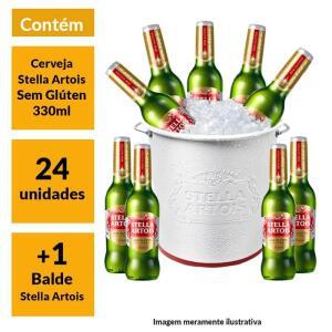 Kit Stella Artois Sem Glúten (24 unidades) + Balde Stella Artois   R$160