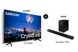"Smart TV Crystal Samsung 4K TU8000 65"" + SB HW-T555 | R$4.464"