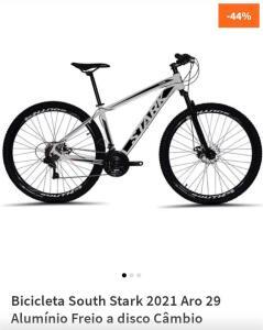 Bicicleta South Stark 2021 Aro 29 Alumínio Freio a disco Câmbio Importado 24 marchas - Branco e Preto R$1229