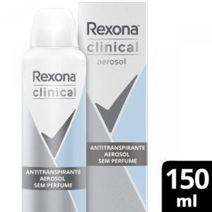 REXONA CLINICAL ANTITRANSPIRANTE AEROSOL SEM PERFUME 96H 150ML | R$11