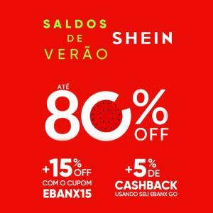 15% off na Shein +5% de cashback com EbanxGo