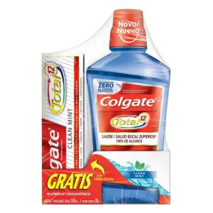 Solução Bucal Colgate 500ml Clean Mint+Grátis Creme Dental 90G Colgate Total12 | R$10