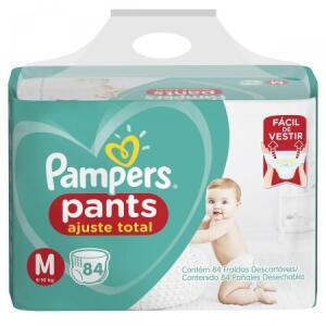 Fralda Pampers Pants M   84 unid   R$0,68 cada tira