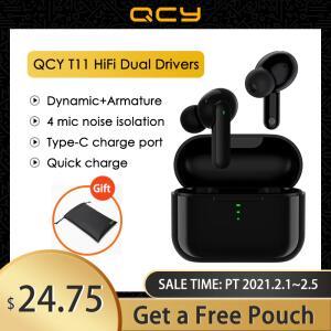 Fone de Ouvido QCY T11 HiFi Dual Drivers TWS Bluetooth 5.0 Earphones | R$