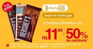(AME 50%) 3 Barras Hersheys por R$12