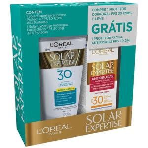 Kit Solar Expertise Supreme Protect4 FPS30 +Antirrugas 25g R$25
