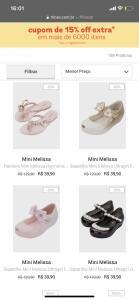 Mini Melissas por 39,90 | R$ 40