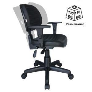 Cadeira de Escritório Executiva Back System COSTURADA com Braços Reguláveis - Corino Preto - R$560