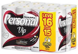 [PRIME + Rec] Papel Higiênico Personal VIP, Folha Dupla, Personal, 16 unidades | R$15