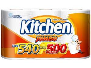 Papel Toalha Folha Dupla Kitchen Jumbo - 3 Unidades | 8 pacotes | R$10 /pacote
