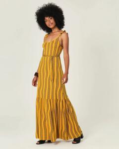 Vestido Longo Estampado Conforto Malwee Amarelo | R$73