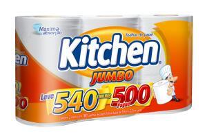 [Cliente Ouro] Papel toalha folha dupla Kitchen Jumbo 3 unidades R$13