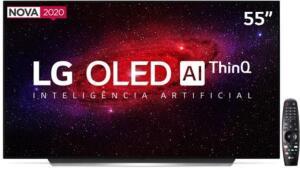 "Smart TV OLED 55"" UHD 4K LG OLED55CX Wi-Fi, Bluetooth, HDR, Inteligência Artificial ThinQ AI, Google Assistente, Alexa, Smart Magic R$5999"