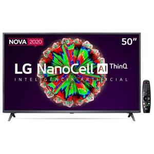 "Smart TV LED 50"" UHD 4K LG 50NANO79 NanoCell, Inteligência Artificial ThinQ AI | R$2699"