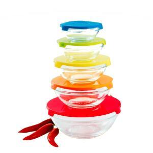 Conjunto de Tigelas com Tampas Coloridas Casa Ambiente - 5 Peças | R$21
