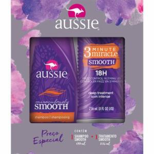 Kit Aussie Smooth Shampoo 180ml + Creme de Tratamento 3 Minutos 236ml | R$30