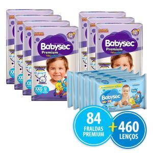 Kit 84 Fraldas Babysec Premium XXG + 460 Lenços Umedecidos   R$152