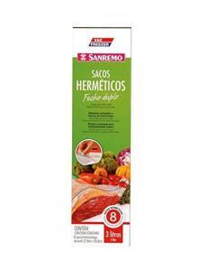 Saco Plástico Hermético Transparente com Fecho Duplo de 3L Vac Freezer Sanremo | R$13