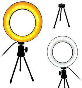 Ring Light Iluminador LED Tripe Usb Luz Quente/Fria Mesa Portatil Controle | R$30