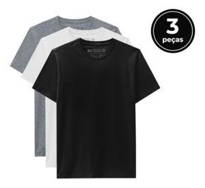 Kit 3 Camisetas Masculino - Basicamente By Malwee | R$17 cada