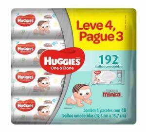 Leve 4 pague 3 | 192 unid | Toalhas umedecidas huggies one done | R$26