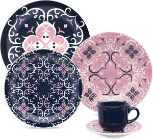 1 Aparelho De Jantar/chá 30 Peças Daily Hana - J591-6809 Oxford Daily Rosa/azul/Branco | R$ 259