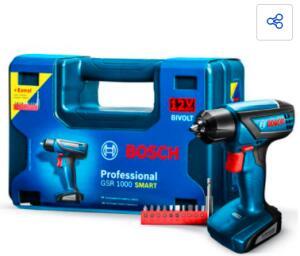Parafusadeira e Furadeira à Bateria Bosch GSR 1000 Smart 12V Kit de Acessórios | R$339