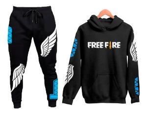Conjunto Moletom Blusa Preta e Calça Preta Free Fire Game Fã Angelical | R$ 98