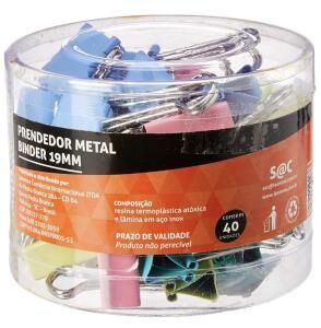 [PRIME] Prendedor Metal Binder Colorido 19mm Pote/40 Un R$11