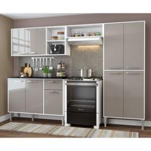 Cozinha Completa Compacta Xangai Plus Multimóveis Branco/Fumê | R$ 612