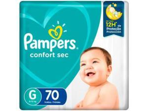 [App + Cliente Ouro] Fralda Pampers Confort Sec Tam. G 9 a 13kg - 70 Unidades R$52