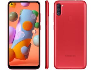 "Smartphone Samsung Galaxy A11 64GB Vermelho 4G - Octa-Core 3GB RAM 6,4"" R$989"