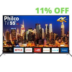 "Smart TV LED 55"" Philco - Ultra HD 4k HDR Borda Infinita R$2400"