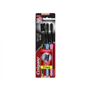 6 Kits de Escova Dental Colgate Slim Soft Black 3 Unidades