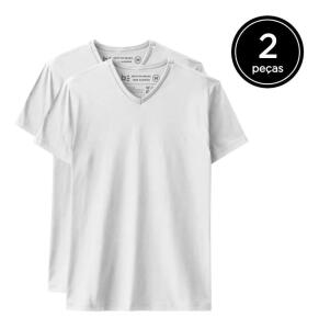 Kit 2 Camisetas Básica Gola V - Basicamente By Malwee | R$35