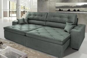 Sofá Austin 2,22m Retrátil, Reclinável com Molas no Assento e Almofadas, Tecido Suede Grafite D33 | R$1490
