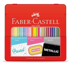 [PRIME] Kit Lápis de Cor Pastel + Neon + Metálico, | R$ 27