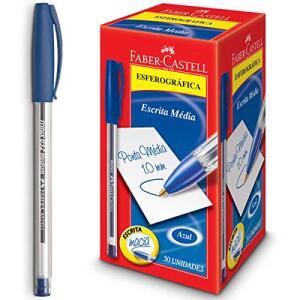 Caneta Esferográfica Trilux 032 Ponta Media 50 Unidades, Faber-Castell, Azul | R$28