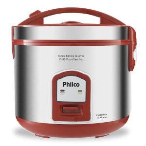 Panela Elétrica de Arroz Philco Visor Glass PH10 Capacidade 10 Xícaras - Vermelho/Inox | R$135
