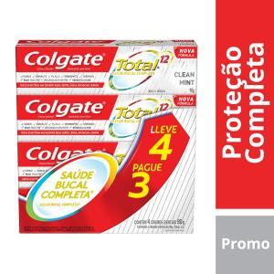 (3kits) Kit Creme Dental Colgate Total 12 Clean Mint 90g 4 Unidades R$34