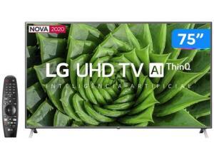 "Smart TV 4K LED IPS 75"" LG 75UN8000PSB | R$ 5499"