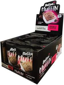 [PRIME] Muffin Double Chocolate Sem Açúcar Sem Glúten Sem Lactose Belive 40g Display com 10 unidades | R$ 31