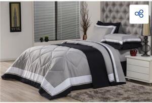 Edredom Queen Plumasul Soft Comfort Microfibra 100% Poliéster – 240 x 260 cm – Cinza - R$416
