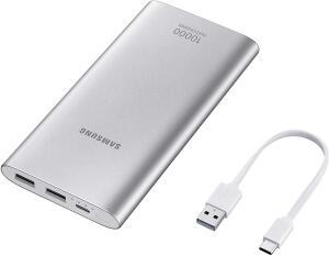 Bateria Externa, 10,000Mah USB Tipo C Prata, Samsung, EB-P1100CSPGBR, Prata | R$80